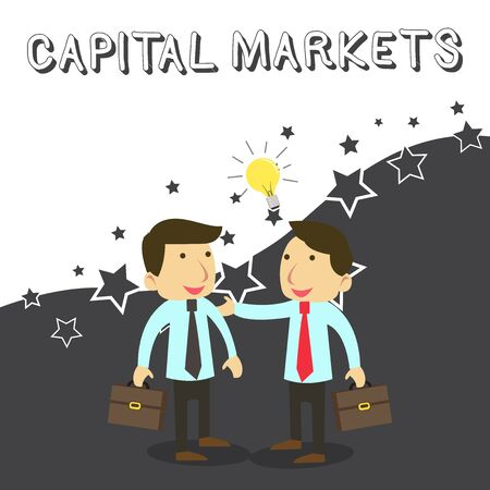 Word writing text Capital Markets. Business photo showcasing Allow businesses to raise funds by providing market security Two White Businessmen Colleagues with Brief Cases Sharing Idea Solution