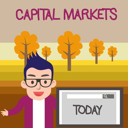Text sign showing Capital Markets. Business photo text Allow businesses to raise funds by providing market security Male Speaker Monitor with Search Tool on Screen Presentation or Report