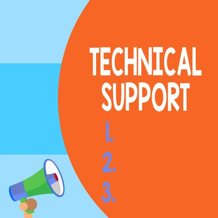 Handwriting text writing Technical Support. Conceptual photo Repair and advice services to users of their products Half part blank huge balloon empty text with small megaphone. Announcement