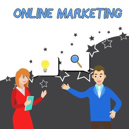 Conceptual hand writing showing Online Marketing. Concept meaning form advertising which uses Internet deliver customer needs Business Partners Colleague Jointly Seeking Problem Solution