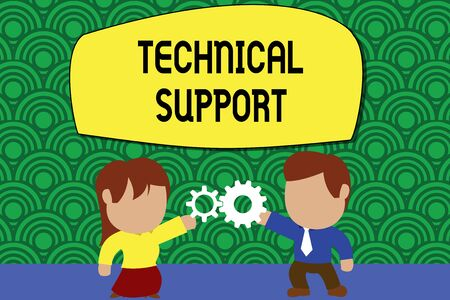 Word writing text Technical Support. Business photo showcasing Repair and advice services to users of their products Standing young couple sharing gear. Man tie woman skirt commerce relation