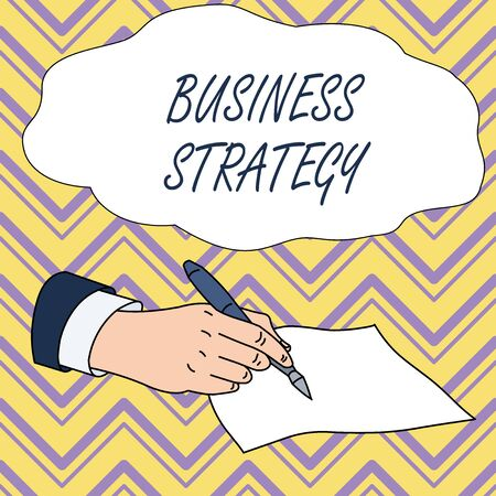 Photo pour Conceptual hand writing showing Business Strategy. Concept meaning Management game plan to achieve desired goal or objective Male Hand Formal Suit Holding Ballpoint Pen Piece of Paper Writing - image libre de droit
