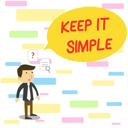 Photo pour Text sign showing Keep It Simple. Business photo text to make something easy to understand and not in fancy way Young Male Businessman Office Worker Standing Searching Problem Solution - image libre de droit