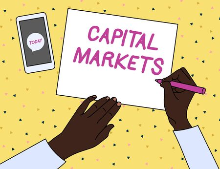 Word writing text Capital Markets. Business photo showcasing Allow businesses to raise funds by providing market security Top View Man Writing Blank Paper Pen Pencil Marker Smartphone Message Icon