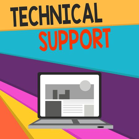 Handwriting text writing Technical Support. Conceptual photo Repair and advice services to users of their products Open Modern Laptop Switched On with Website Homepage on Screen Web Search
