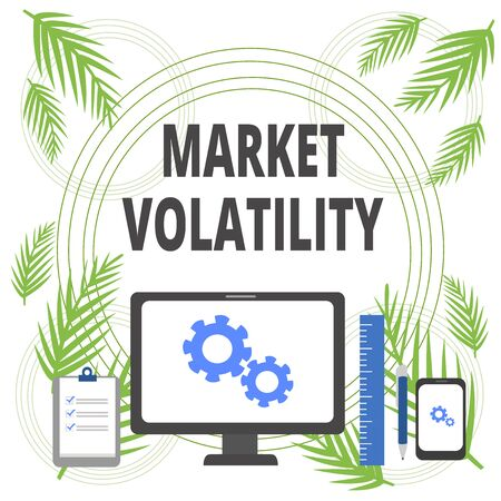 Handwriting text writing Market Volatility. Conceptual photo Underlying securities prices fluctuates Stability status Business Concept PC Monitor Mobile Device Clipboard Ruler Ballpoint Pen