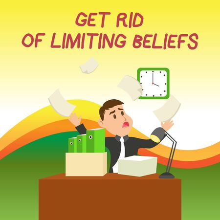 Photo pour Text sign showing Get Rid Of Limiting Beliefs. Business photo text remove negative beliefs and think positively Confused Male Employee Manager Cluttered Workspace Overflow Time Shortage - image libre de droit