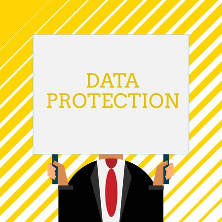 Foto de Handwriting text writing Data Protection. Conceptual photo Protect IP addresses and demonstratingal data from harmful software Old fashioned way to pick people at airport hold big board with two hands - Imagen libre de derechos