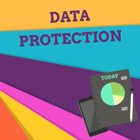 Foto de Handwriting text Data Protection. Conceptual photo Protect IP addresses and demonstratingal data from harmful software Layout Smartphone Off Ballpoint Pen RingBound Notepad Business Pie Chart - Imagen libre de derechos
