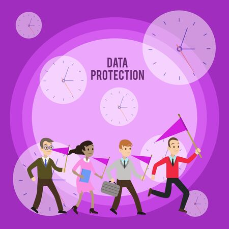 Foto de Conceptual hand writing showing Data Protection. Concept meaning Protect IP addresses and demonstratingal data from harmful software Crowd Flags Headed by Leader Running Demonstration Meeting - Imagen libre de derechos