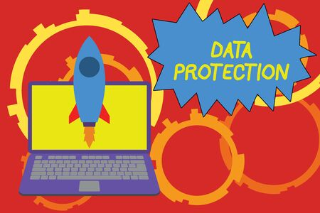 Foto de Conceptual hand writing showing Data Protection. Concept meaning Protect IP addresses and demonstratingal data from harmful software Launching rocket up laptop Startup Developing goal objective - Imagen libre de derechos