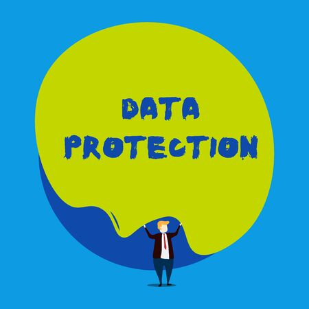Foto de Conceptual hand writing showing Data Protection. Concept meaning Protect IP addresses and demonstratingal data from harmful software Male human wear formal tuxedo hold asymmetrical shape bubble - Imagen libre de derechos