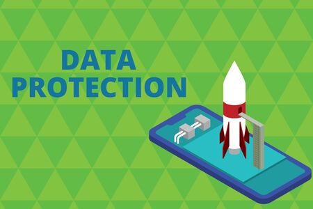Foto de Word writing text Data Protection. Business photo showcasing Protect IP addresses and demonstratingal data from harmful software Ready to launch rocket lying smartphone. Startup negotiations to begin - Imagen libre de derechos