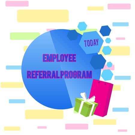 Writing note showing Employee Referral Program. Business concept for employees are rewarded for introducing recruits Greeting Card Poster Gift Package Presentation Box Decorated by Bowknot