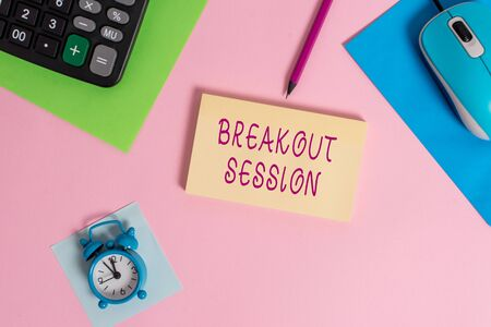 Photo pour Handwriting text writing Breakout Session. Conceptual photo workshop discussion or presentation on specific topic Mouse calculator sheets marker notepad alarm clock colored background - image libre de droit