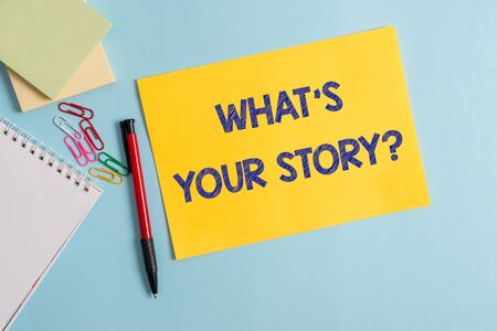 Foto de Writing note showing What S Is Your Story question. Business concept for analysisner of asking demonstrating about past life events Plain cardboard and writing equipment placed on pastel colour backdrop - Imagen libre de derechos