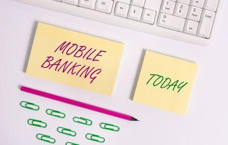 Writing note showing Mobile Banking. Business concept for Monitoring account balances Transferring funds Bill payment Flat lay above blank copy space sticky notes with business concept