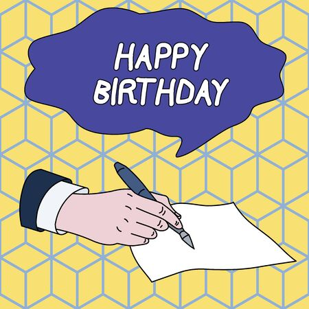 Foto de Text sign showing Happy Birthday. Business photo showcasing The birth anniversary of a demonstrating is celebrated with presents Male Hand Formal Suit Holding Ballpoint Pen Blank Piece of Paper Writing - Imagen libre de derechos