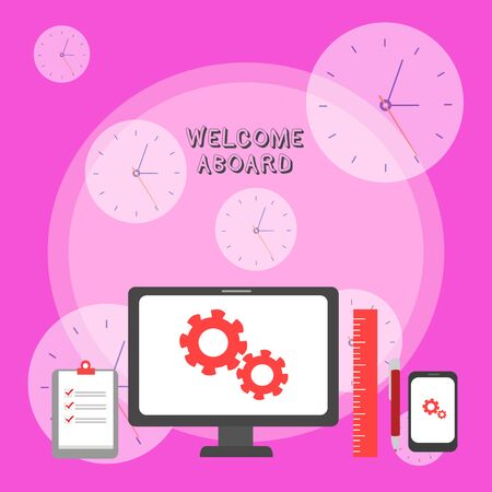 Photo pour Writing note showing Welcome Aboard. Business concept for Expression of greetings to a demonstrating whose arrived is desired Business Concept PC Monitor Mobile Device Clipboard Ruler Ballpoint Pen - image libre de droit