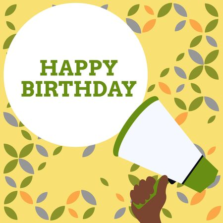 Foto de Word writing text Happy Birthday. Business photo showcasing The birth anniversary of a demonstrating is celebrated with presents Hand Holding Loudhailer Empty Round Speech Text Balloon Announcement New - Imagen libre de derechos