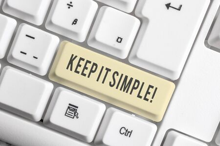 Photo pour Handwriting text Keep It Simple. Conceptual photo ask something easy understand not go into too much detail White pc keyboard with empty note paper above white background key copy space - image libre de droit