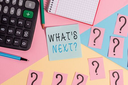 Photo pour Word writing text What S Next Question. Business photo showcasing asking demonstrating about his coming actions or behaviors Mathematics stuff and writing equipment above pastel colours background - image libre de droit