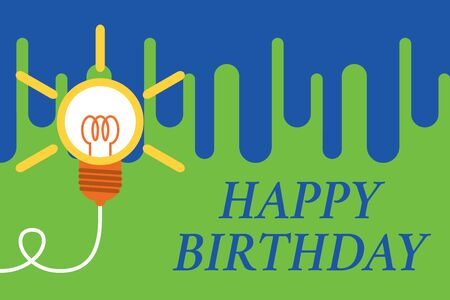 Foto de Handwriting text Happy Birthday. Conceptual photo The birth anniversary of a demonstrating is celebrated with presents Big idea light bulb. Successful turning idea invention innovation. Startup - Imagen libre de derechos