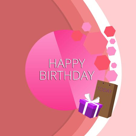 Foto de Text sign showing Happy Birthday. Business photo text The birth anniversary of a demonstrating is celebrated with presents Greeting Card Poster Gift Package Presentation Box Decorated by Bowknot - Imagen libre de derechos