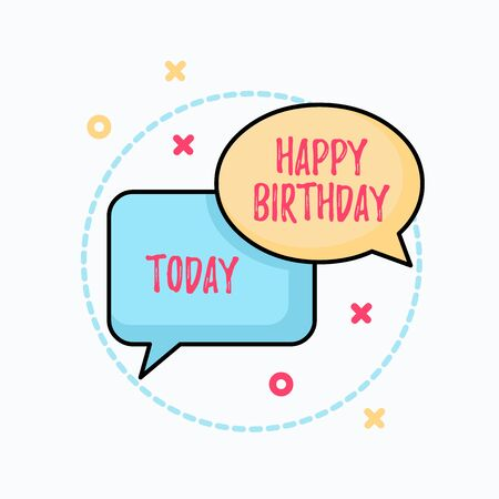 Foto de Conceptual hand writing showing Happy Birthday. Concept meaning The birth anniversary of a demonstrating is celebrated with presents Pair of Overlapping Bubbles of Oval and Rectangular Shape - Imagen libre de derechos
