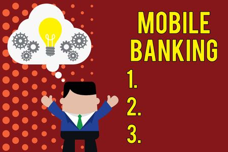 Writing note showing Mobile Banking. Business concept for Monitoring account balances Transferring funds Bill payment Man hands up imaginary bubble light bulb working together