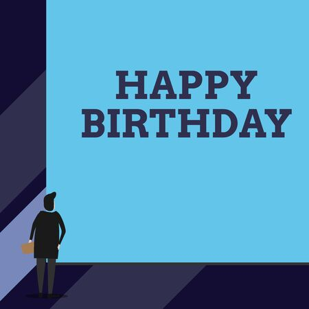 Foto de Handwriting text Happy Birthday. Conceptual photo The birth anniversary of a demonstrating is celebrated with presents Back view young woman watching blank big rectangle. Geometrical background - Imagen libre de derechos