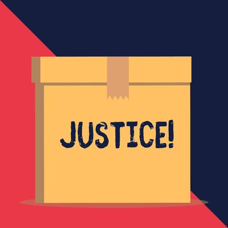 Writing note showing Justice. Business concept for impartial adjustment of conflicting claims or assignments Close up front view brown cardboard sealed box lid. Blank background