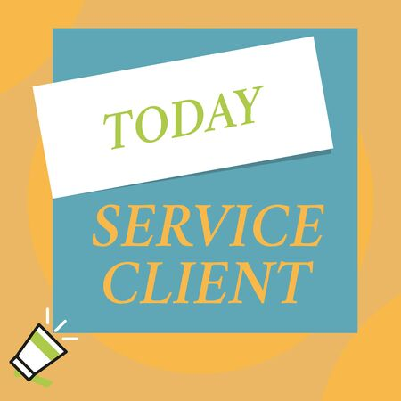 Photo pour Writing note showing Service Client. Business concept for Dealing with customers satisfaction and needs efficiently Big blank square rectangle stick above small megaphone left down corner - image libre de droit