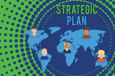 Photo pour Word writing text Strategic Plan. Business photo showcasing a systematic process of envisioning a desired future Connection multiethnic persons all over world. Global business earth map - image libre de droit