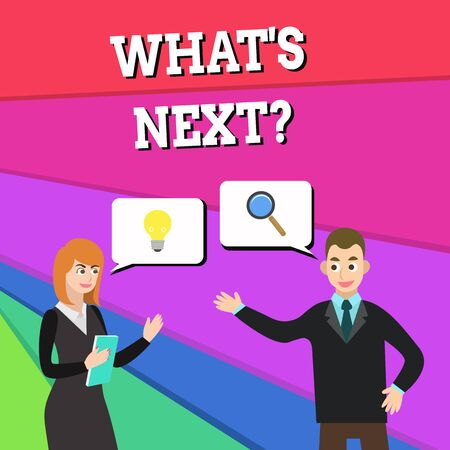 Text sign showing What's Next Question. Business photo showcasing asking demonstrating about his coming actions or behaviors Business Partners Colleagues Jointly Seeking Problem Solution Generate Idea