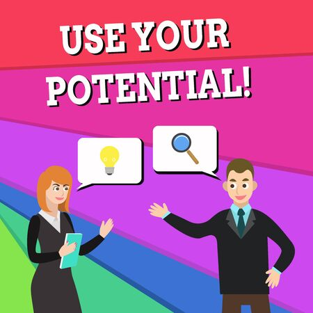 Text sign showing Use Your Potential. Business photo showcasing achieve as much natural ability makes possible Business Partners Colleagues Jointly Seeking Problem Solution Generate Idea