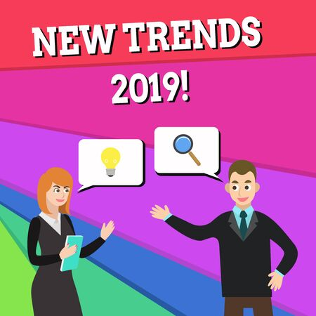Text sign showing New Trends 2019. Business photo showcasing general direction in which something is developing Business Partners Colleagues Jointly Seeking Problem Solution Generate Idea