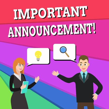 Text sign showing Important Announcement. Business photo showcasing spoken statement that tells showing about something Business Partners Colleagues Jointly Seeking Problem Solution Generate Idea
