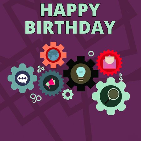Foto de Word writing text Happy Birthday. Business photo showcasing The birth anniversary of a demonstrating is celebrated with presents Set of Global Online Social Networking Icons Inside Colorful Cog Wheel Gear - Imagen libre de derechos