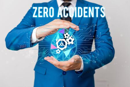 Photo for Handwriting text writing Zero Accidents. Conceptual photo important strategy for preventing workplace accidents Man net gears bubble hands suit machinery stuff office technological device - Royalty Free Image