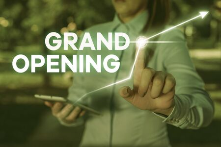 Foto de Conceptual hand writing showing Grand Opening. Concept meaning Ribbon Cutting New Business First Official Day Launching - Imagen libre de derechos
