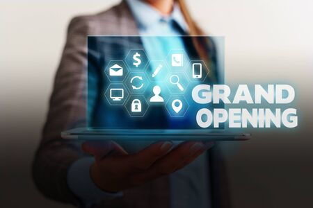Foto de Handwriting text writing Grand Opening. Conceptual photo Ribbon Cutting New Business First Official Day Launching - Imagen libre de derechos