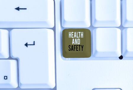 Photo for Text sign showing Health And Safety. Business photo showcasing procedures intended to prevent accident in workplace White pc keyboard with empty note paper above white background key copy space - Royalty Free Image