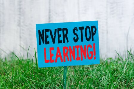 Photo for Handwriting text Never Stop Learning. Conceptual photo keep on studying gaining new knowledge or materials Plain empty paper attached to a stick and placed in the green grassy land - Royalty Free Image