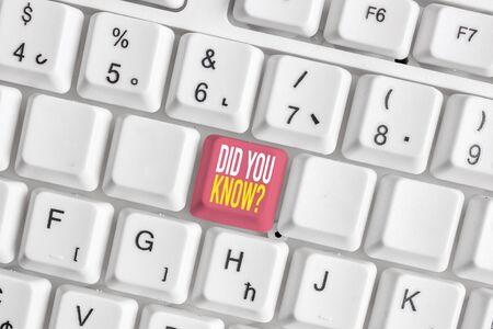 Foto de Word writing text Did You Know Question. Business photo showcasing when you are asking someone if they know fact or event White pc keyboard with empty note paper above white background key copy space - Imagen libre de derechos