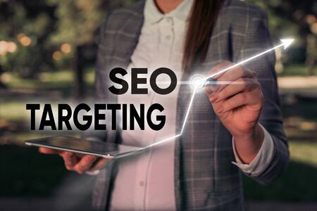 Word writing text Seo Targeting. Business photo showcasing Specific Keywords for Location Landing Page Top Domain