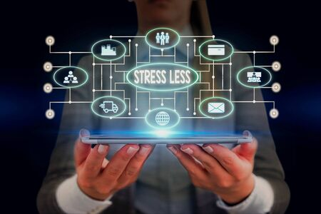 Text sign showing Stress Less. Business photo showcasing Stay away from problems Go out Unwind Meditate Indulge Oneself Woman wear formal work suit presenting presentation using smart device