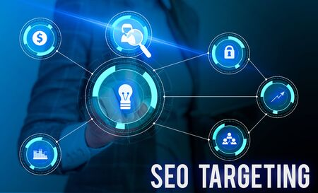 Conceptual hand writing showing Seo Targeting. Concept meaning Specific Keywords for Location Landing Page Top Domain Woman wear work suit presenting presentation smart device