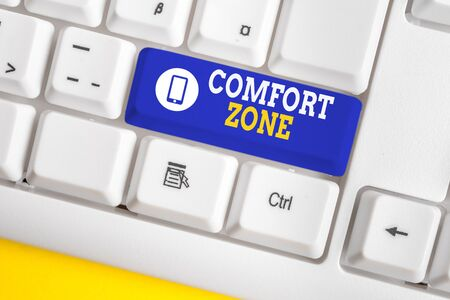 Photo for Handwriting text Comfort Zone. Conceptual photo A situation where one feels safe or at ease have Control White pc keyboard with empty note paper above white background key copy space - Royalty Free Image