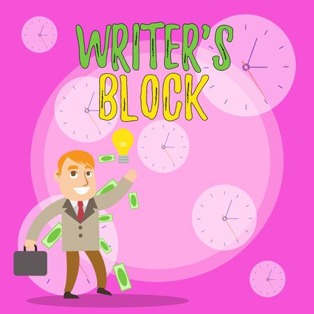 Writing note showing Writer S Block. Business concept for Condition of being unable to think of what to write Successful Businessman Generating Idea or Finding Solution